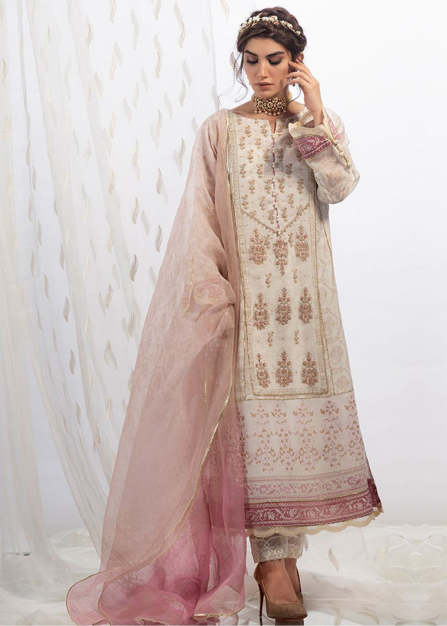 Ivory rose cotton net shirt with dupatta