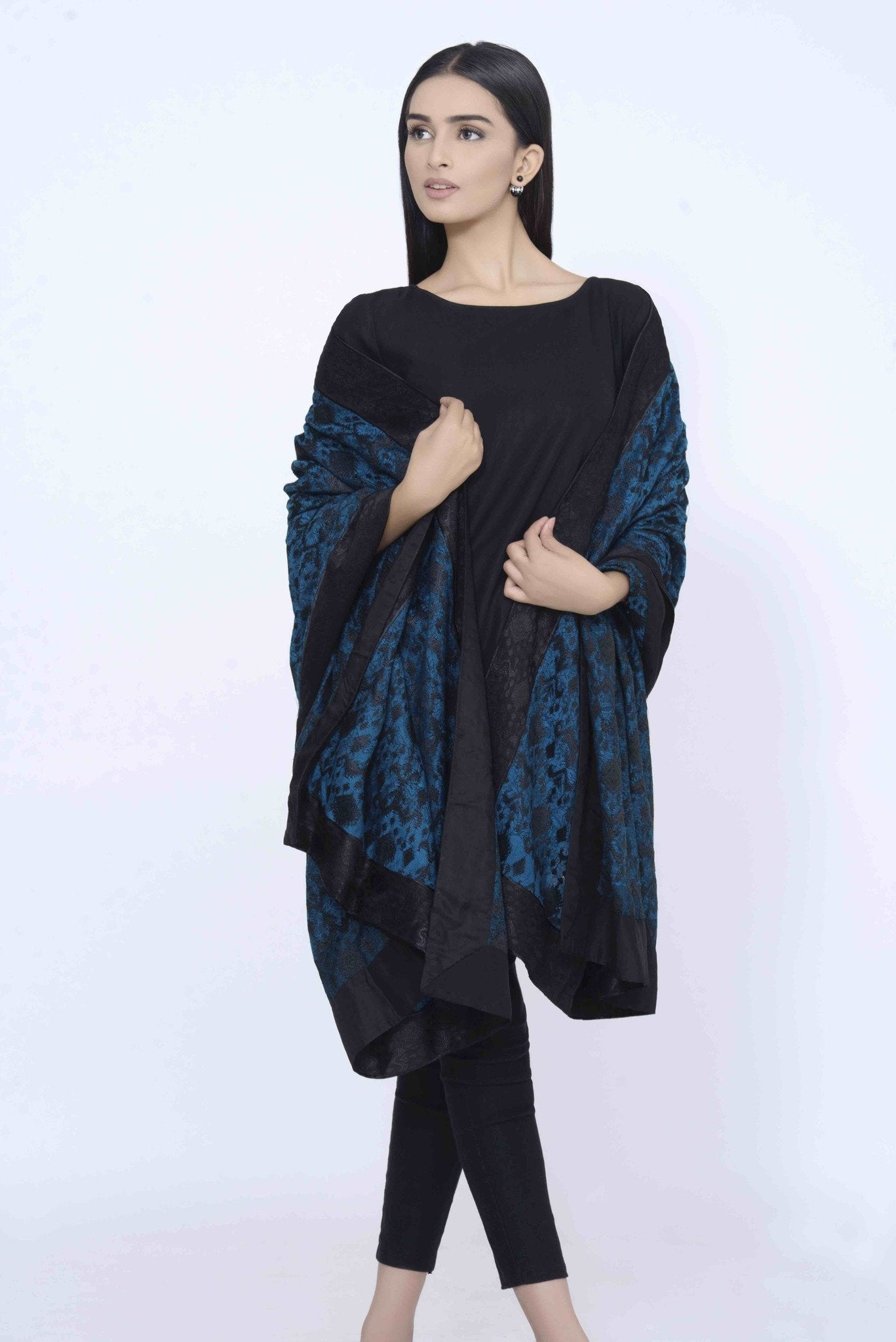 Turquoise Pashmina Embroided Shawl with Black Embroided Borders
