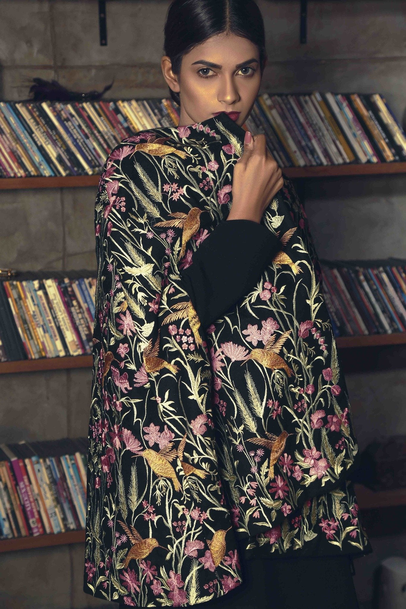 Black Floral Embroided Cape