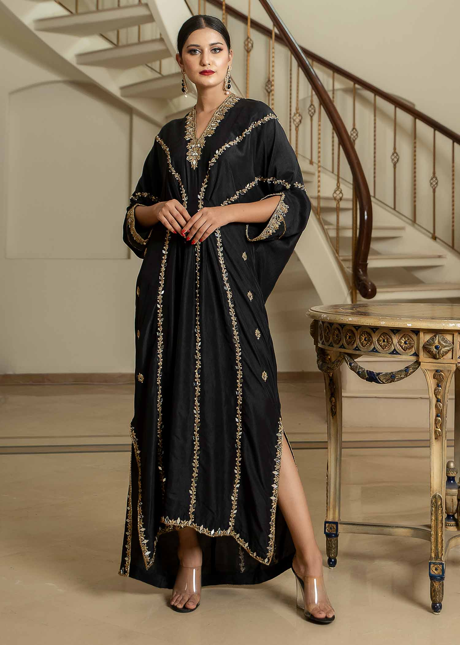 Black Rawsilk kaftan