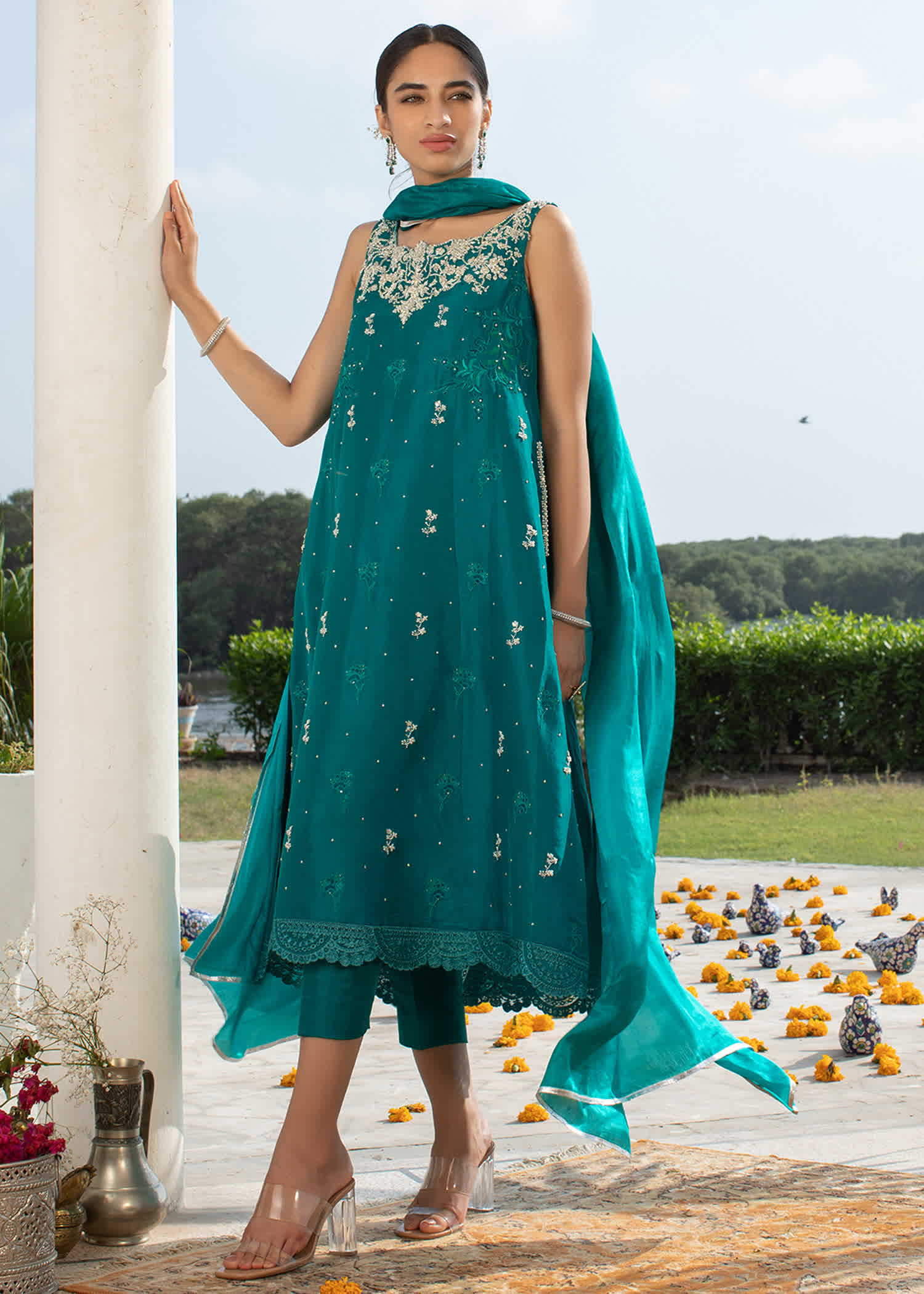 Selena turquoise with silk dupatta