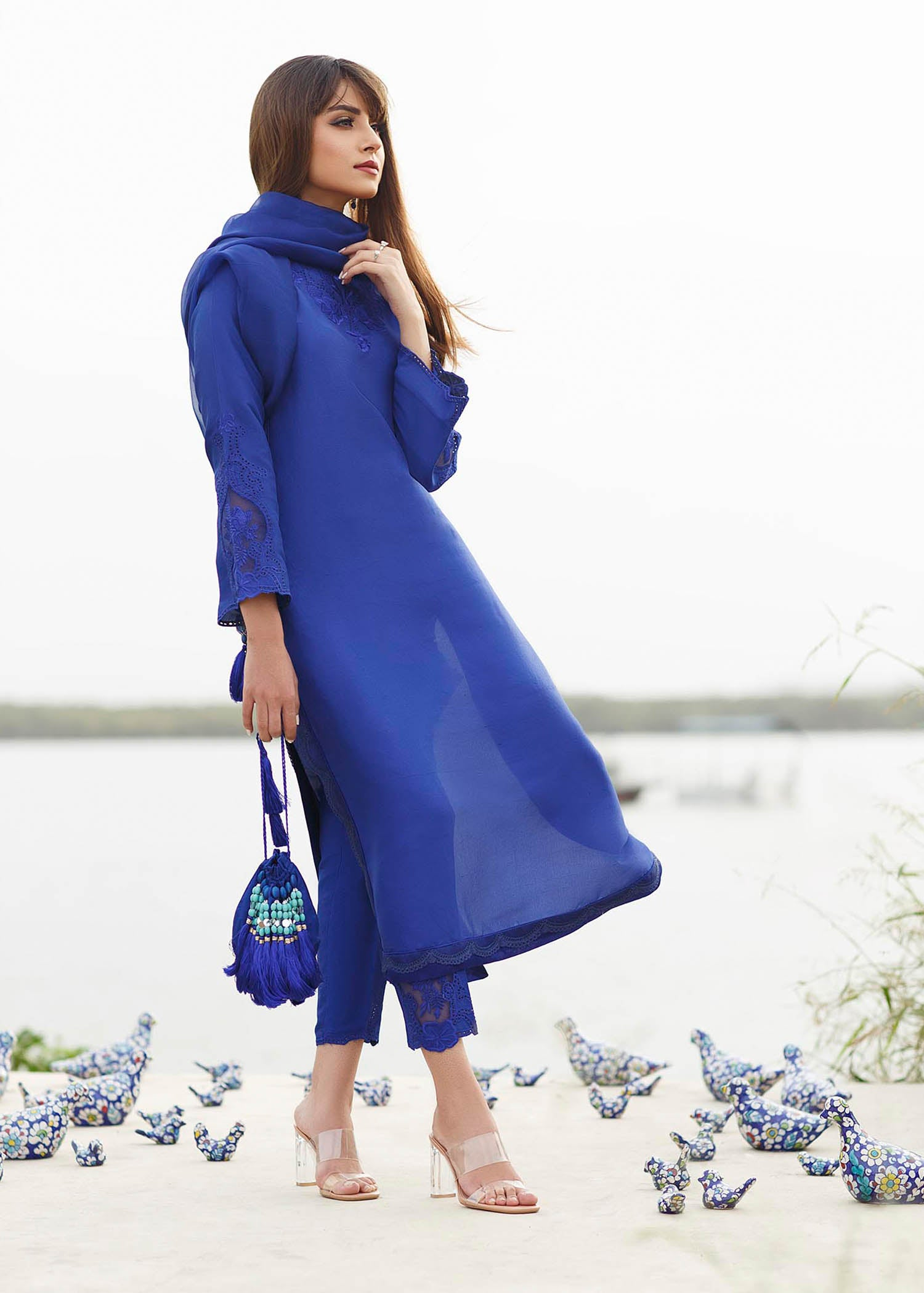 Egyption Blue Column shirt with Pure organza embroidered dupatta