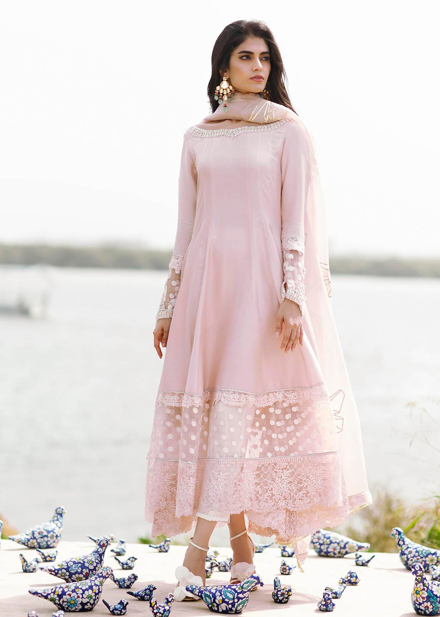 Butterfly Pink Kalidaar with dupatta