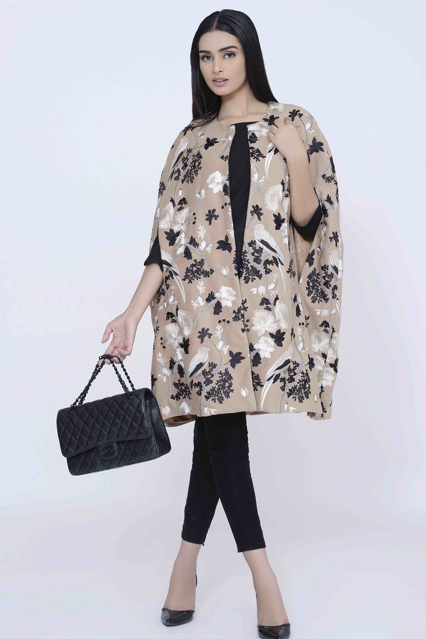 Beige Cape with Black & White Embroidary