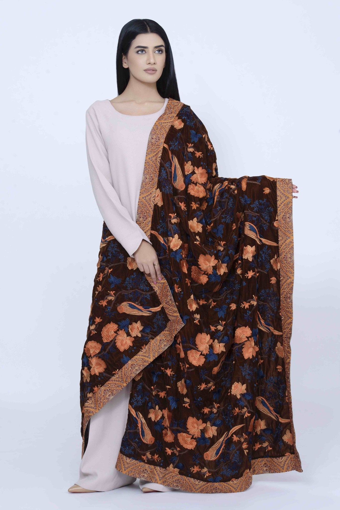 Brown Velvet Shawl with Multi Color Embroidary