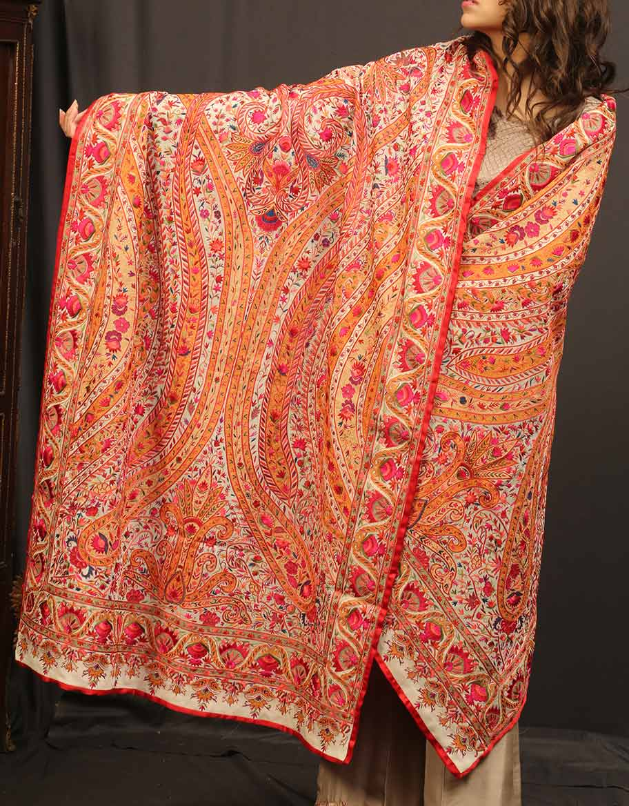 Colorful Hand Made Embroidered Shawl