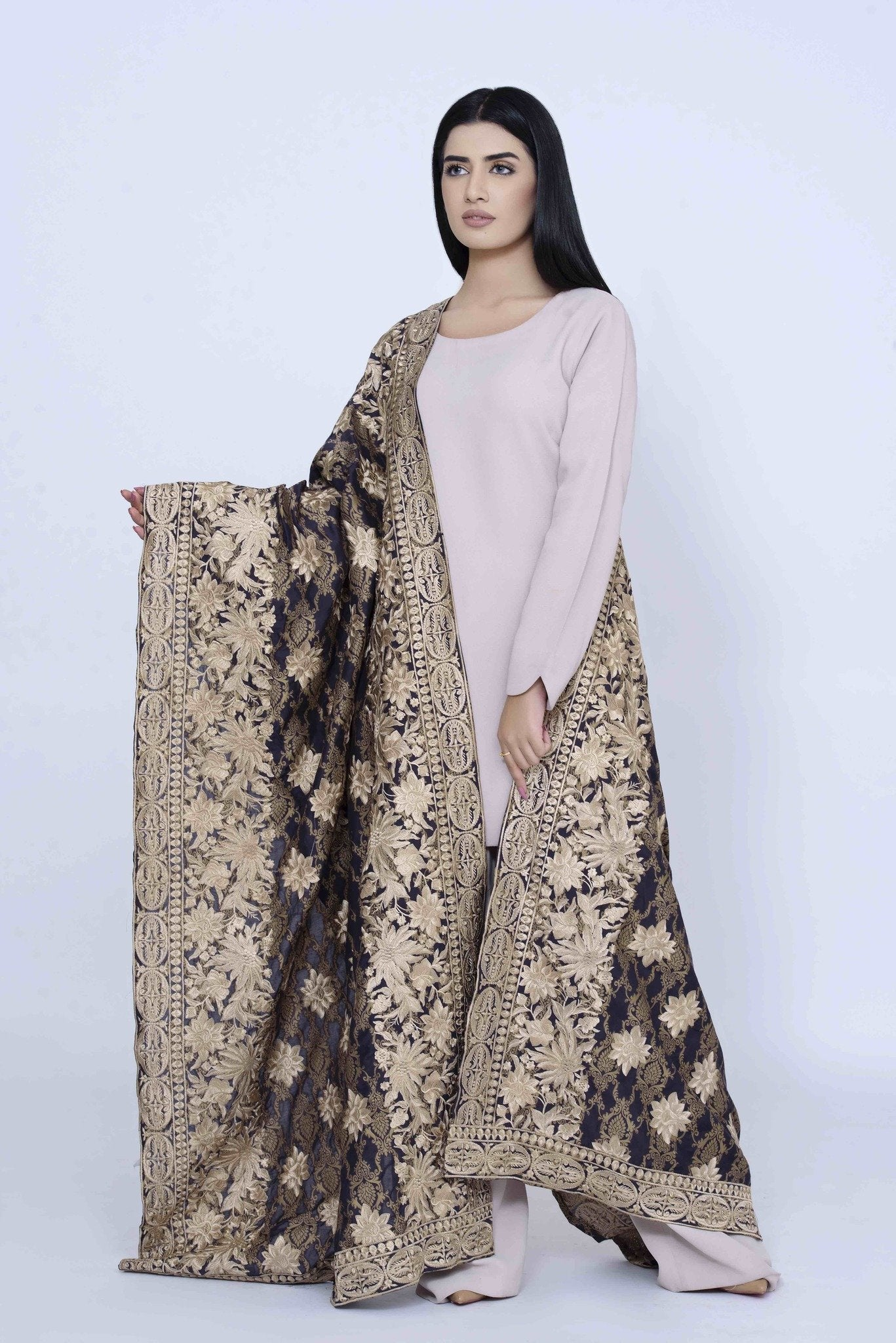 Gold Brown Wide Border Shawl