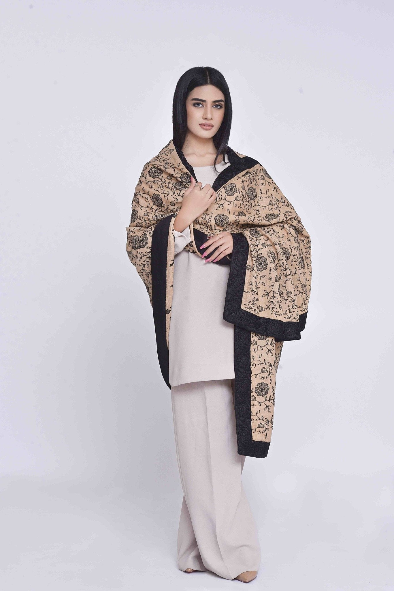 Skin Pashmina Embroided Shawl with Black Embroidered Borders