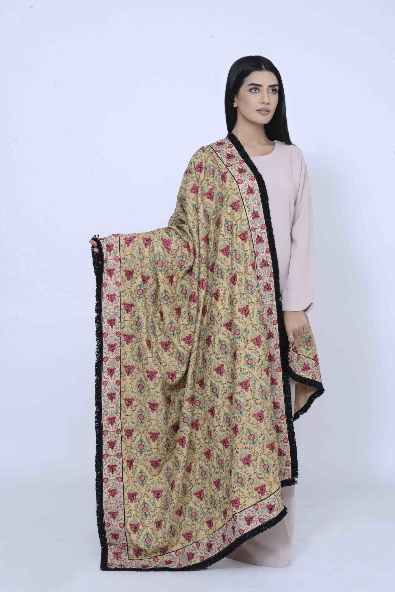 Pashmina Shall Small Floral Pattern Embroidary