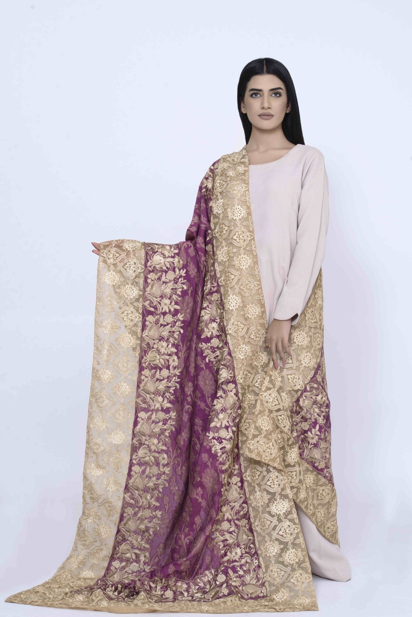 Pink Jamawar Shawl with Beige Silk Thread Embroidary & Organza Embroided Borders