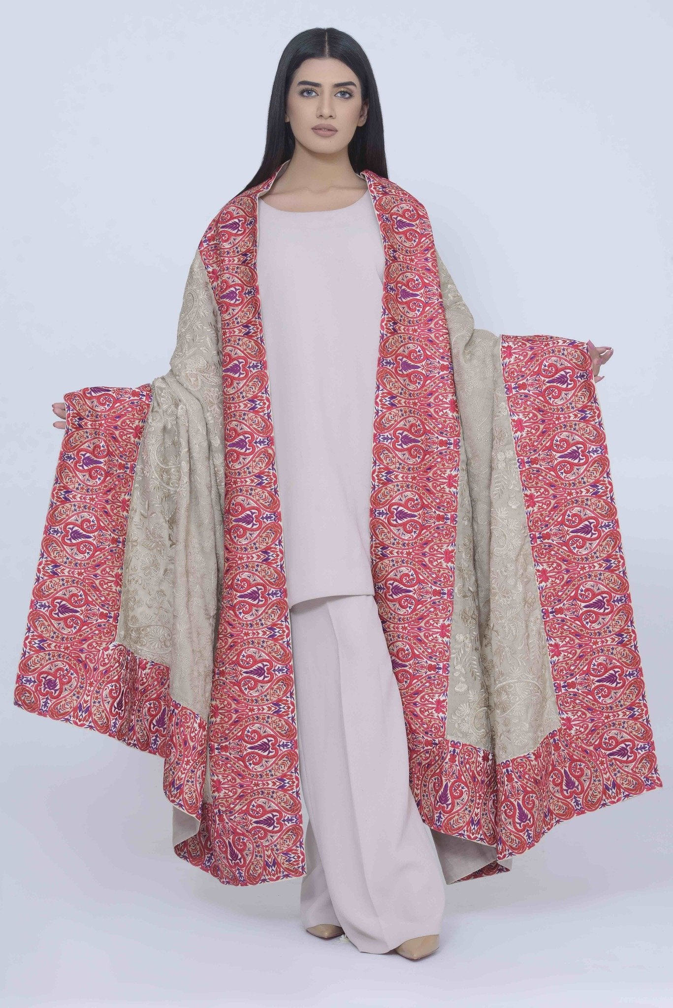 Pink Floral Wide Border Shawl