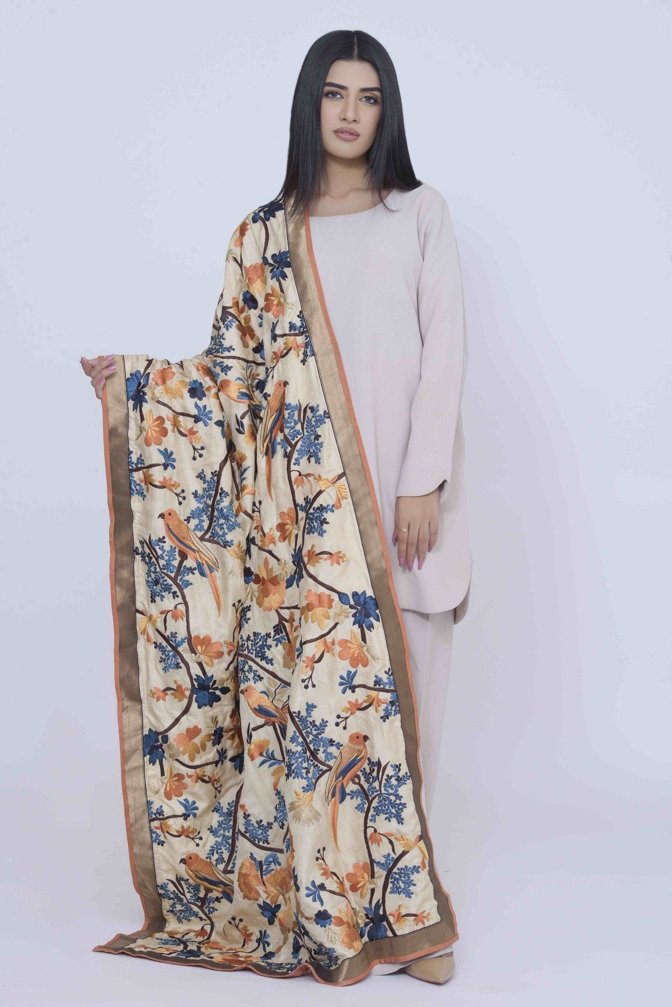 Off-White Silk Shawl with Rusty Shades Embroidary