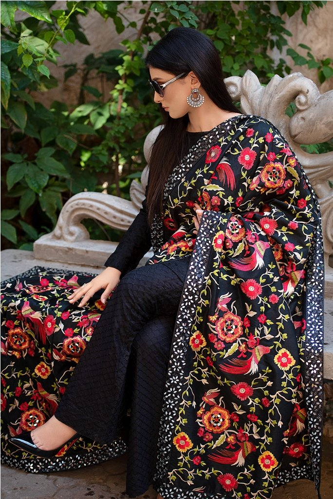 Fully Embroidered Raw Silk Black Shawl with Mirror Work 2020