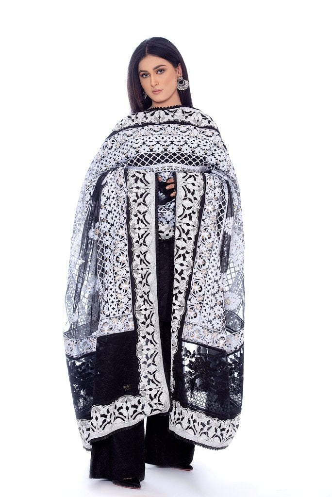 Black Net Dupatta with White Embroidary & White Sequins work 2020