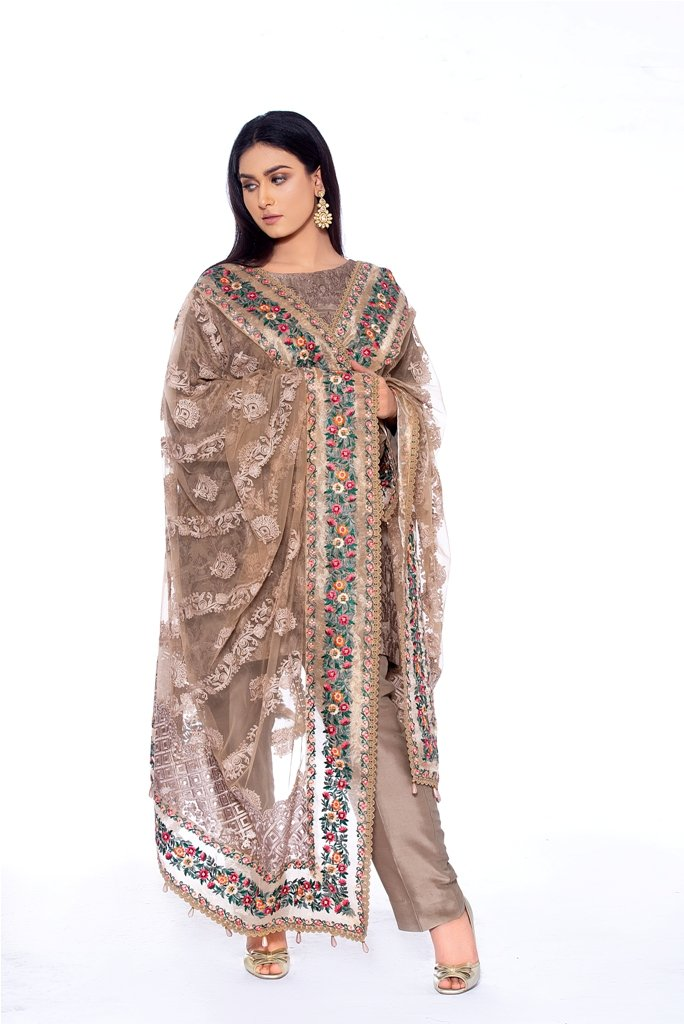 Net Embroidered Dupatta with Organza Embroidered Border 2020