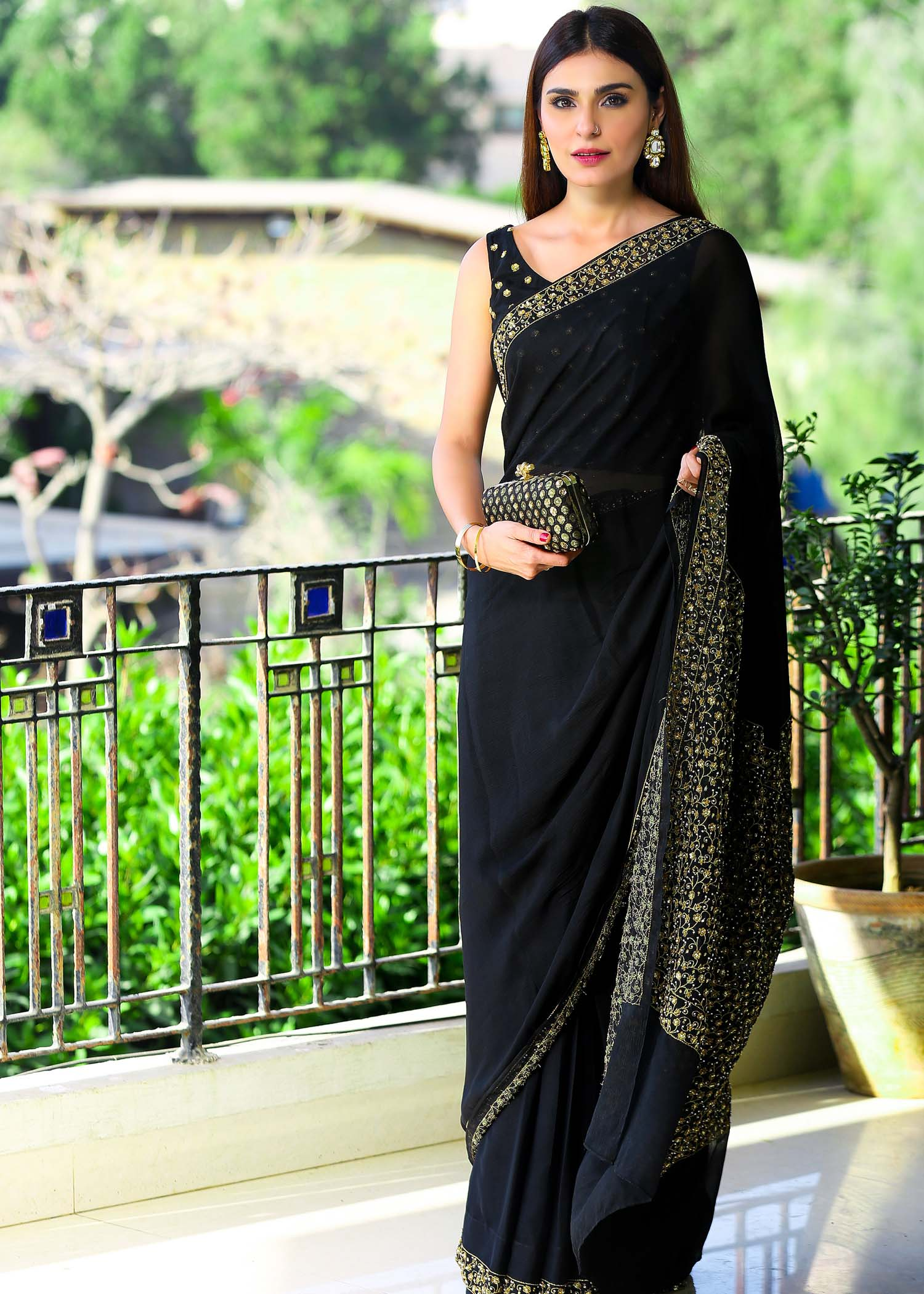Black chiffon sequin saree