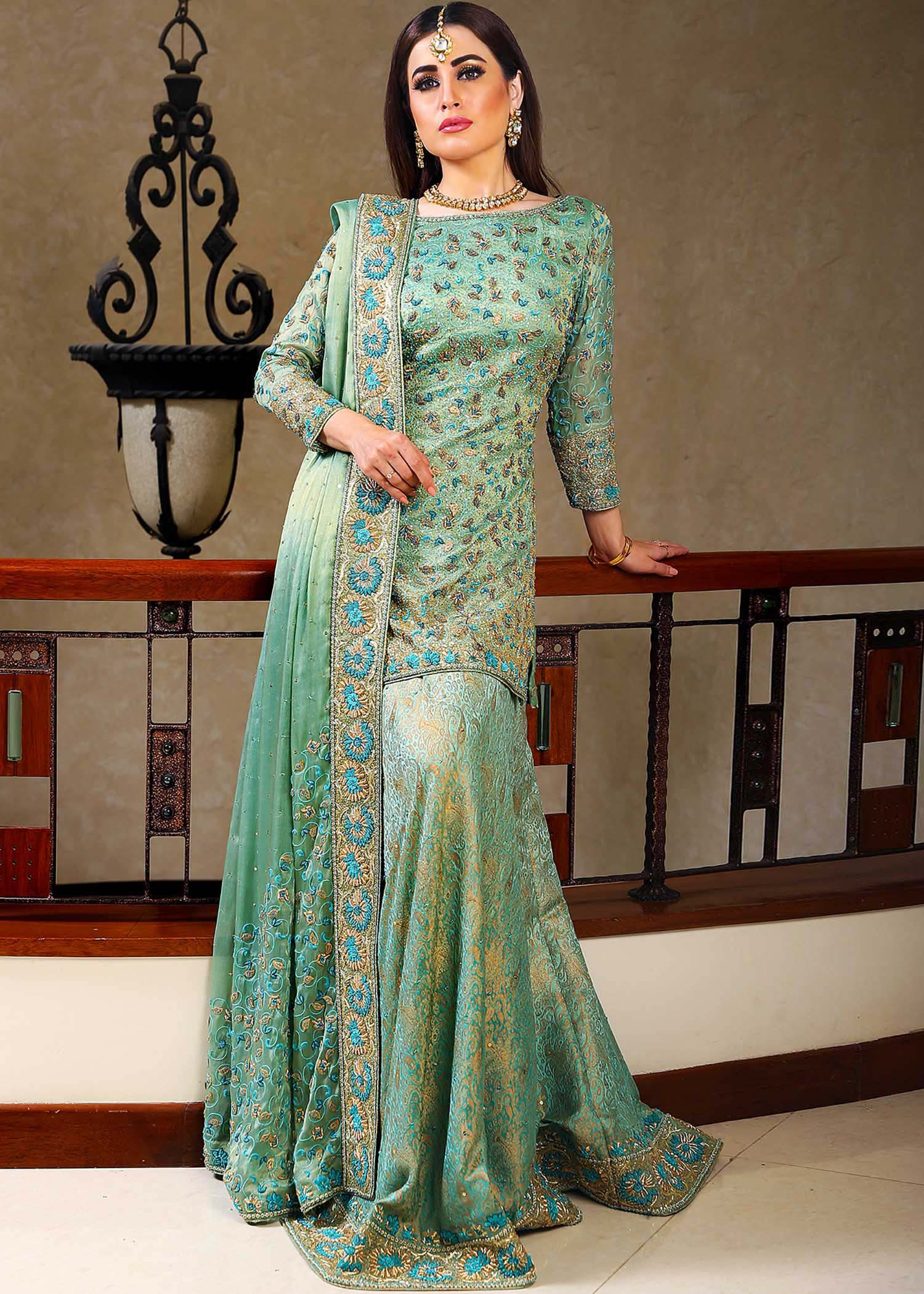Mint green maisuri bridal