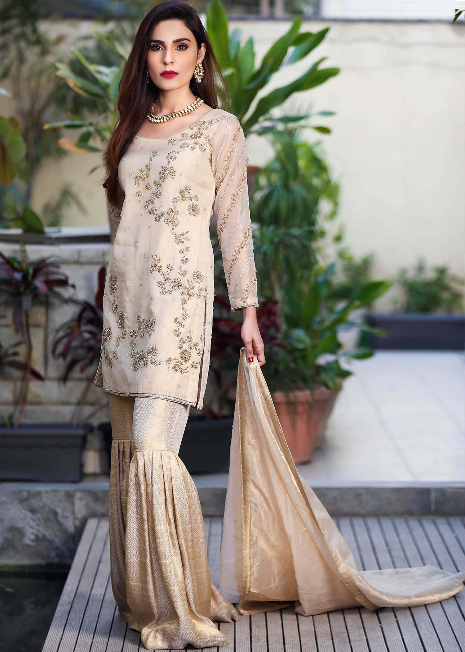 Tissue suit with gharara Pants