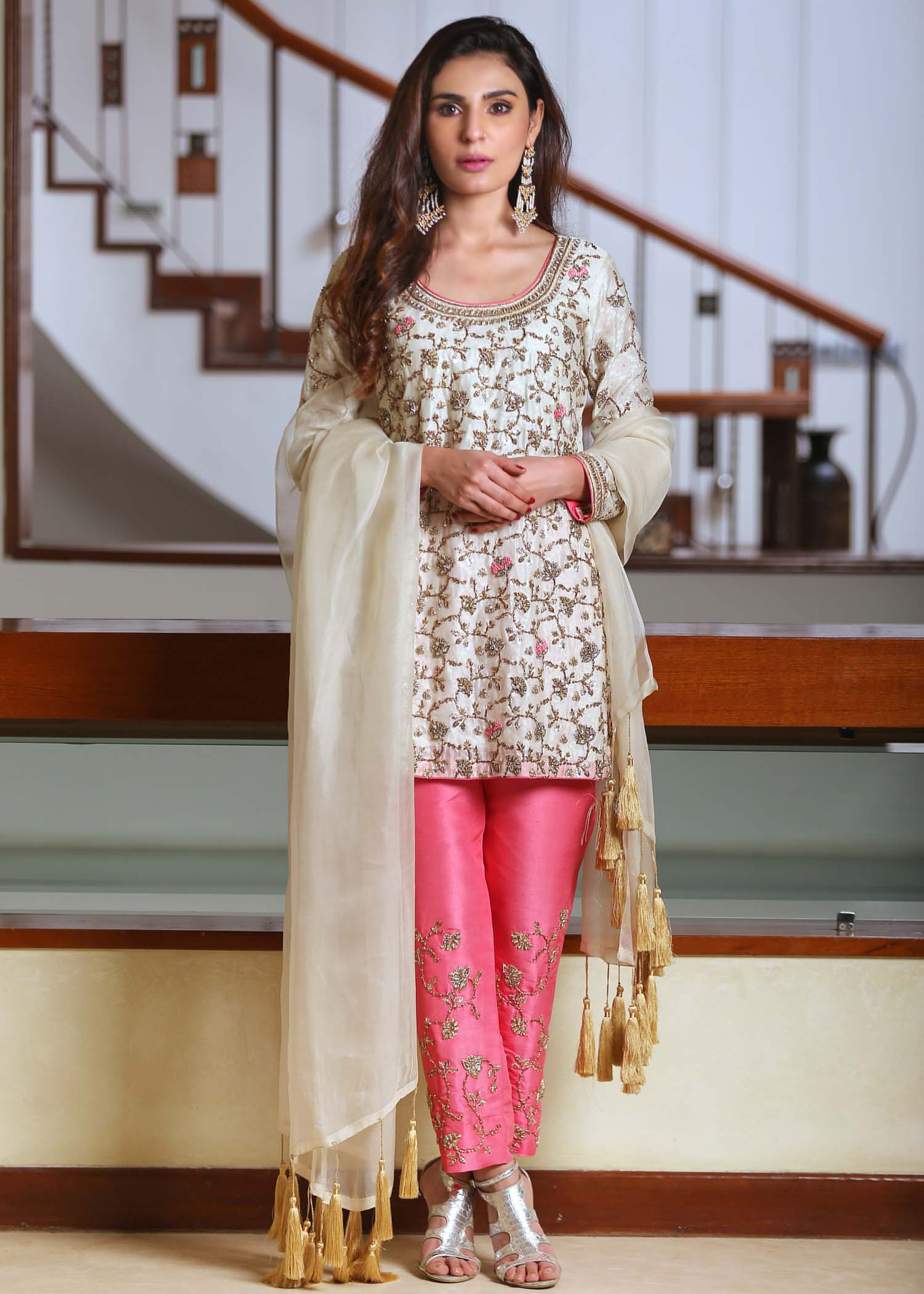 Off White Kundan Dress