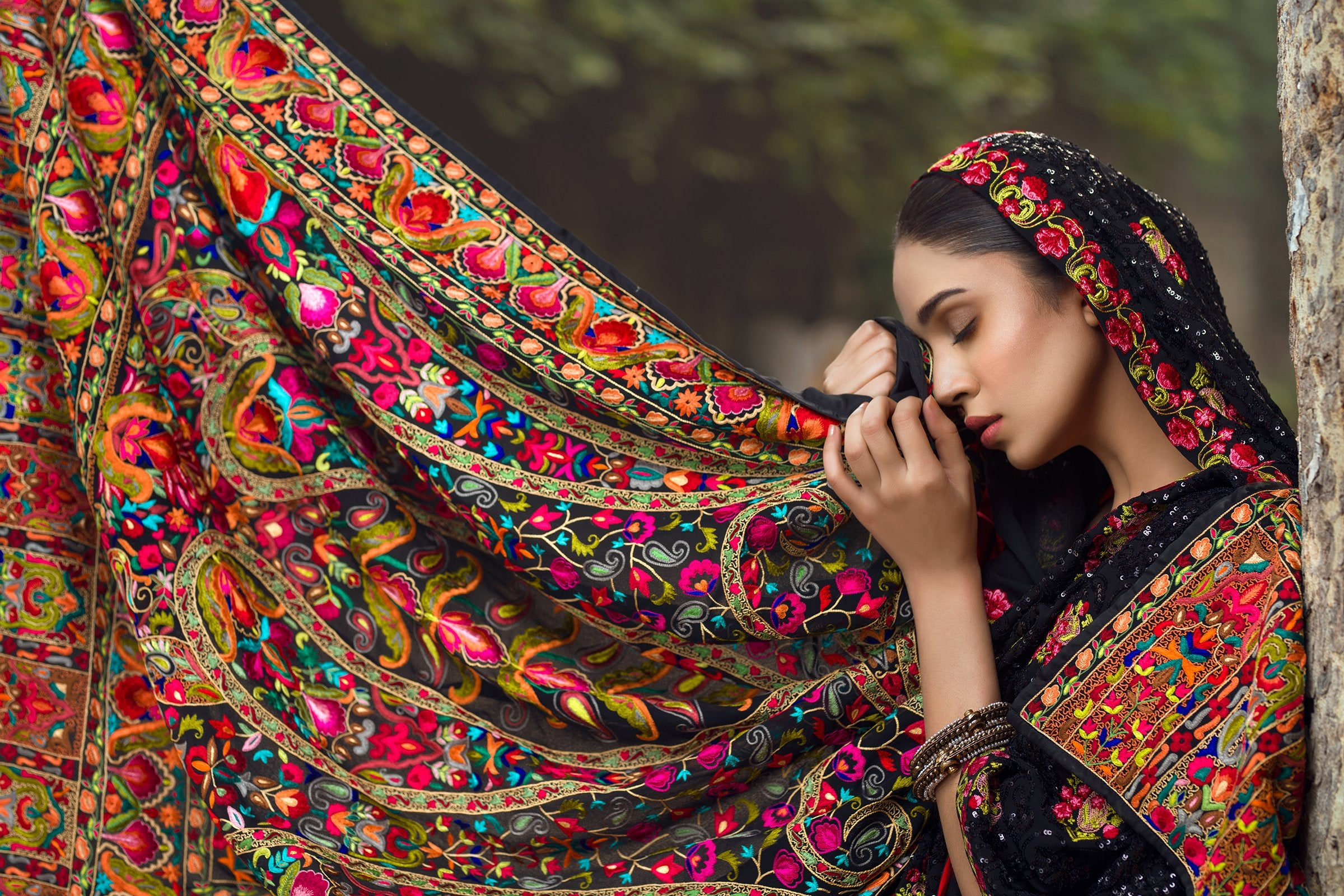 Hand Made Fully Embroidered Shawl