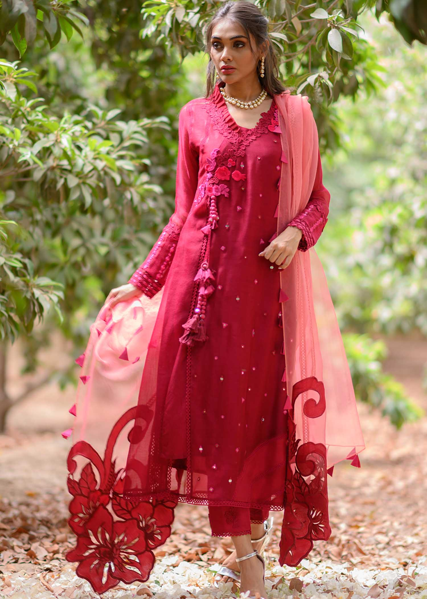 Long embroidered angarkha with statement dupatta