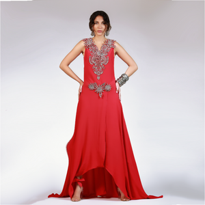 Red Paisleys 3D Flowers Long Dress
