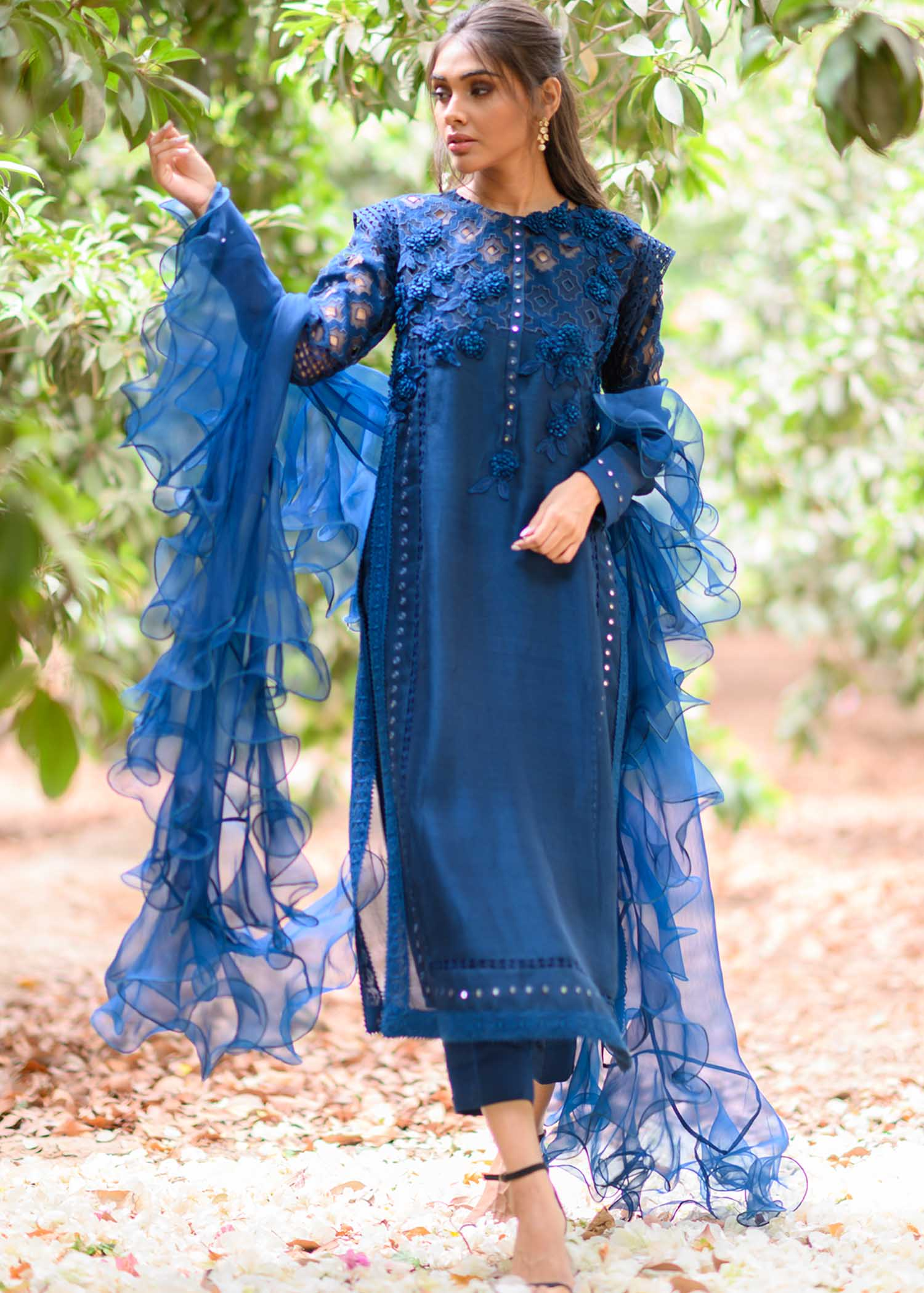 Self embroidered long shirt with statement dupatta