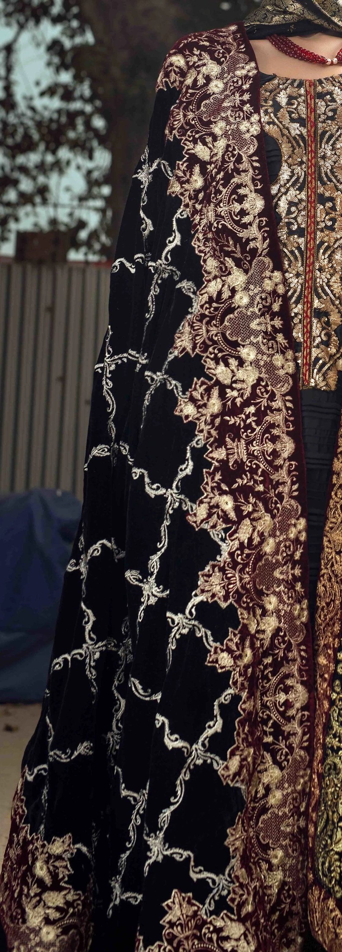 Formal Black Velvet Shawl with Tilla Embroidary