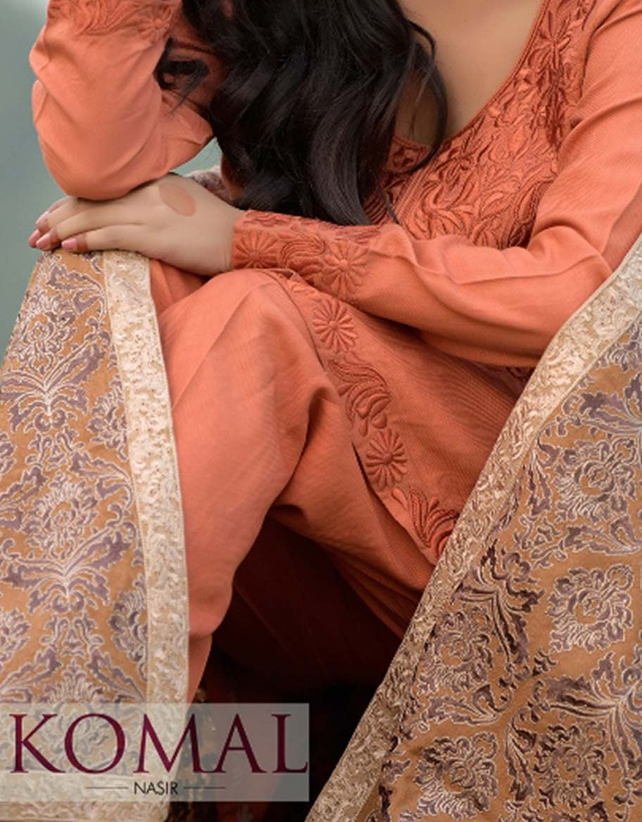 Brown Pashmina Fully Embroided Shawl