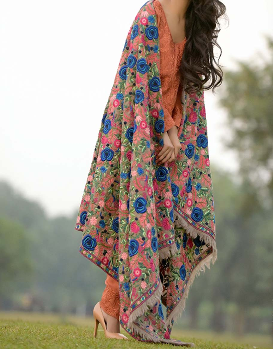 Floral Full Embroidered Hand Made Classic Shawl