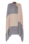 Chunky Cashmere Colour Block Wrap - Grey Melange