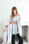 Cashmere Poncho - Ice Blue