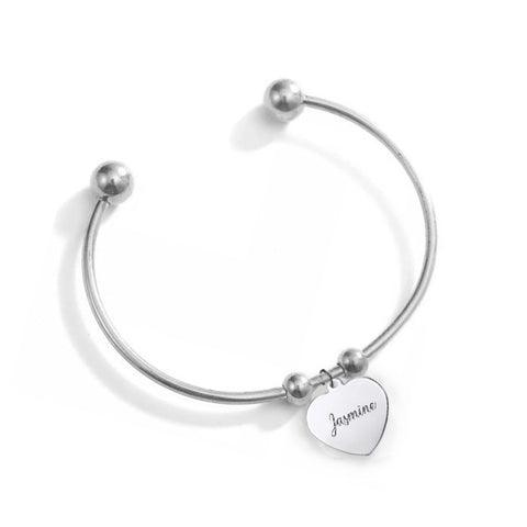 (Silver) Dew Engravable Cuff Bangle - Loville.co