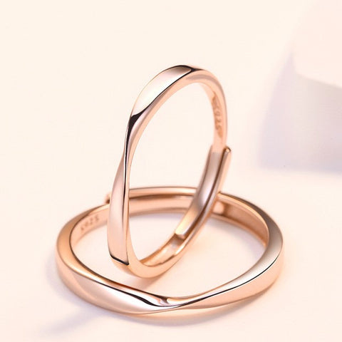 Infinity Love Couple Rings in Rose Gold (Adjustable)