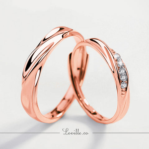 Swiss Love Couple Rings (Adjustable) in Rose Gold