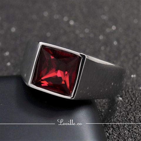 (Ruby Red) Futurist Ring