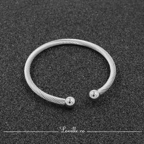 (Silver) Mirror Ball Bearing Bangle - Loville.co