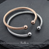 (Rose Gold) Mirror Ball Bearing Bangle