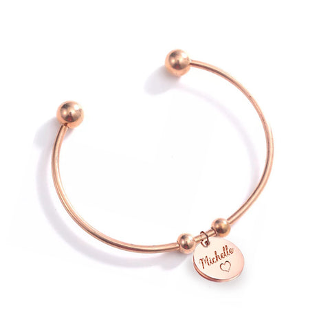 (Rose Gold) Shantel Engravable Cuff Bangle - Loville.co