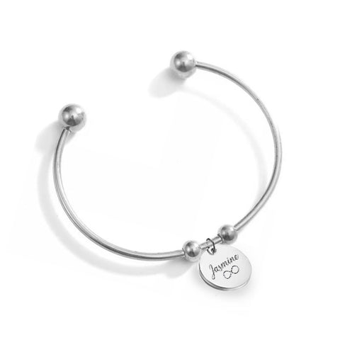 (Silver) Shantel Engravable Cuff Bangle - Loville.co