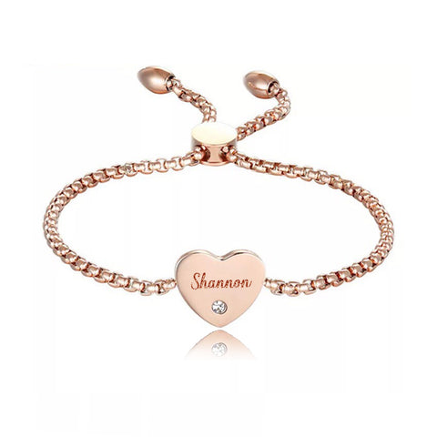 (Rose Gold) Angel Heart Engravable Bracelet Adjustable - Loville.co
