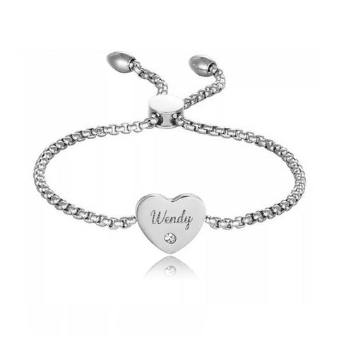 (Silver) Angel Heart Engravable Bracelet Adjustable - Loville.co