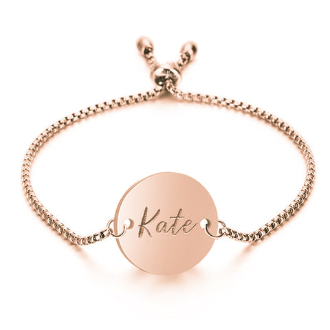 Luna Engravable Bracelet Adjustable in Rose Gold