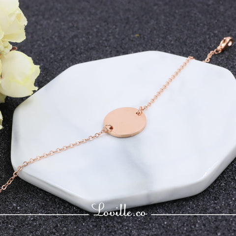 (Rose Gold) Connie Round Engravable Bracelet - Loville.co