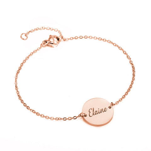 (Rose Gold) Connie Round Engravable Bracelet