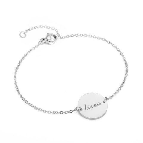 (Silver) Connie Round Engravable Bracelet