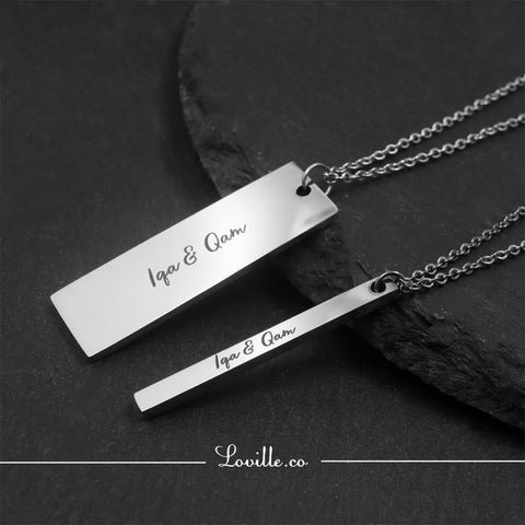 (Silver) Dylan Engravable Couple Necklace