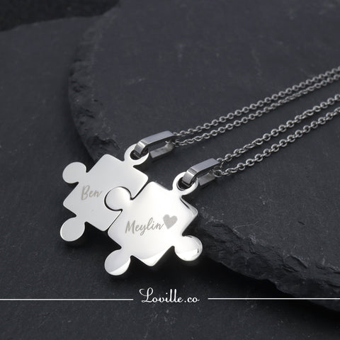 (Silver) Puzzle Couple Engravable Necklace - Loville.co