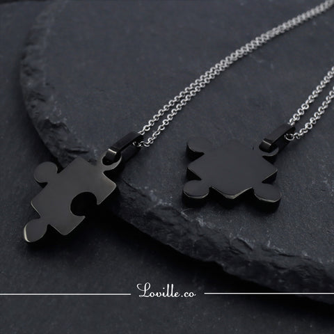 (Black) Puzzle Couple Engravable Necklace - Loville.co