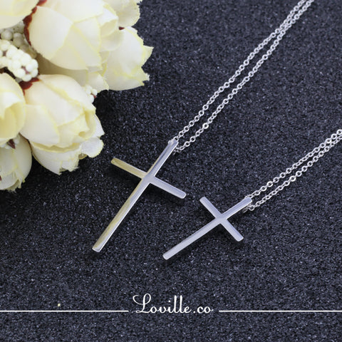 (Silver) Immanuel Cross Engravable Couple Necklace
